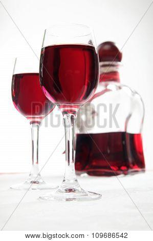 Cherry Liqueur - Glasses And Decanter