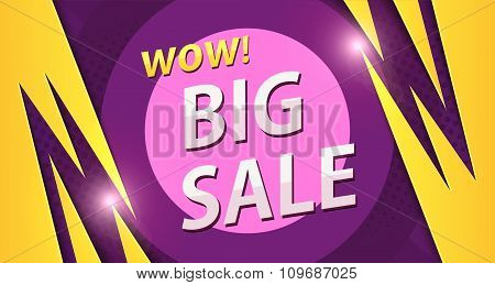 Big Sale Banner In Yellow With Purple Colors