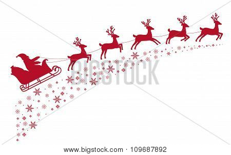 Santa Sleigh Reindeer Flying On Background Of Snow-covered Stars.
