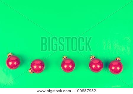 Five Christmas Balls Crimson Color