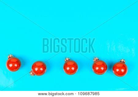 Five Red Christmas Balls