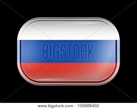 Flag Of Russia. Rectangular Shape With Rounded Corners
