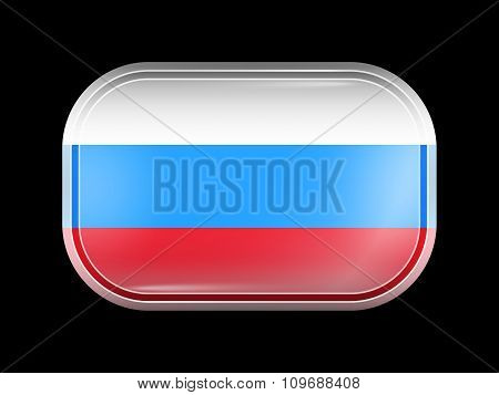 Russia Variant Flag. Rectangular Shape With Rounded Corners