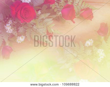 Abstract Blurry Of Rose Flower And Colorful Background.