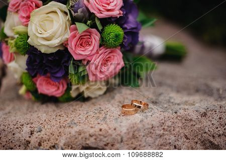 bridal bouquet  on the cliff