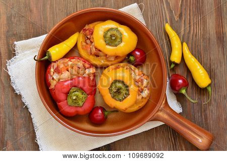 Baked sweet peppers stuffed with vegetables