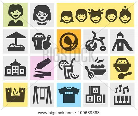 preschool, kindergarten set black icons. signs and symbols