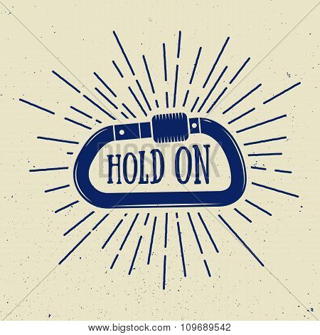 Vintage Carabine For Mountaineering With Slogan. Vector Illustration.