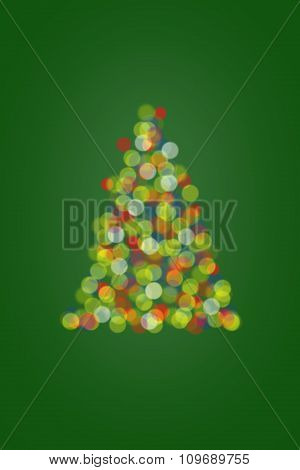 Christmas Tree Lights On Green Background