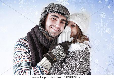 Girl Whispering A Secret Boyfriend's Ear.happy Young Couple Gossiping.snowy Card.