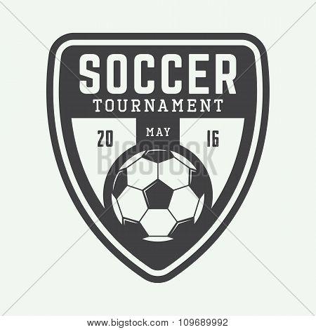 Vintage Soccer Or Football Logo, Emblem, Badge. Vector Illustration