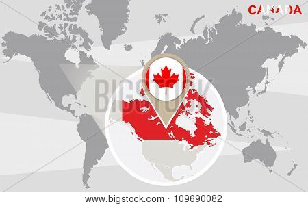 World Map With Magnified Canada