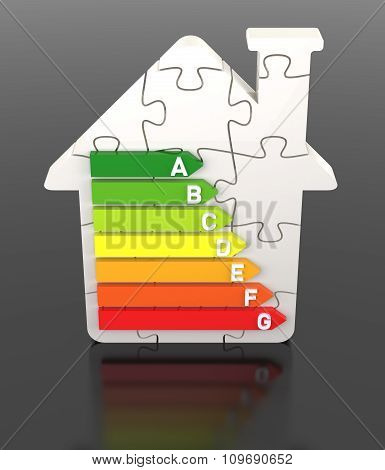 3D Bar Graph, Energy Efficiency Concept, With Puzzle Home