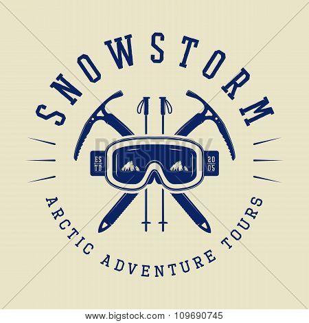 Vintage Arctic Mountaineering Logo, Badge, Emblem. Vector Illustration