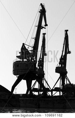 Dark Silhouettes Of Port Cranes. Black And White