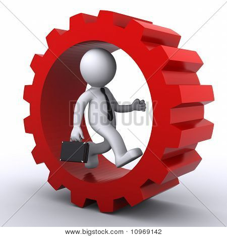 3D Businessmen Inside Gear. Business Concept
