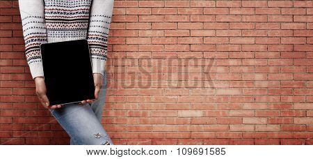 Half Body Shot Of A Cheerful Stylish Woman In Jeans And White Sweater. Woman Hands Holding Contempor