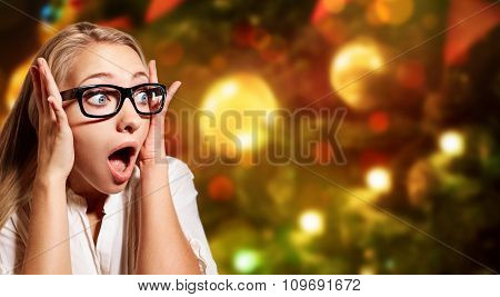 Close Up Portrait Young Blonde Business Woman, Looking Shocked, Surprised In Full Disbelief Isolated