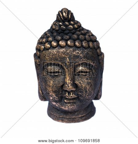Buddha head sculpture isolated on white background
