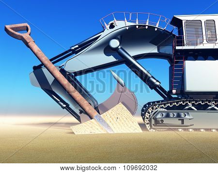 Construction site with massive digger and spade