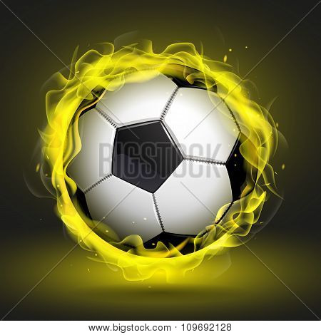 Soccer Ball In Yellow Flame