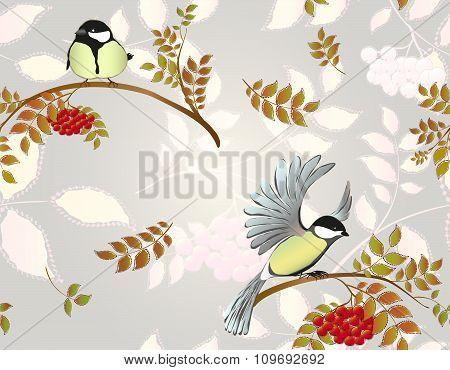 Seamless autumn background with leaves, rowan and birds. EPS10 vector illustration