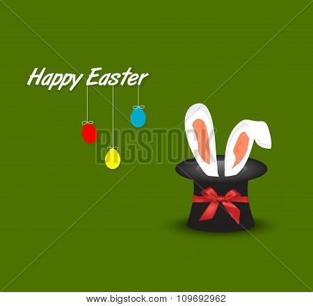 Happy Easter Postcard With Hanging Eggs And Rabbit Ears Coming Out Of Magic Hat