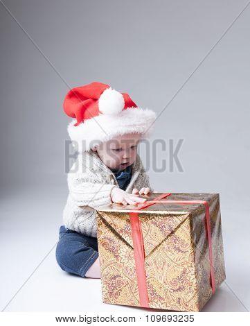 Santa Claus Baby  With Gift Box.