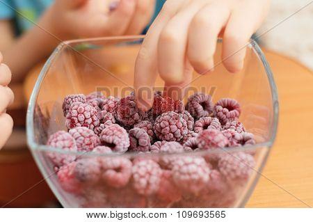 Child Hands Taking Frozen Raspberries