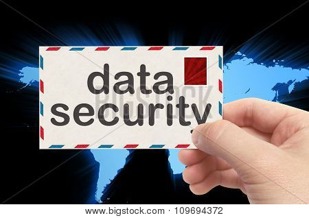 Hand Holding Envelope With Data Security Word And World Background