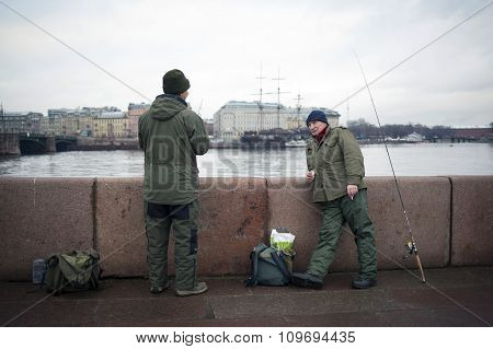 Fisherman In Neva River In St. Petersburg