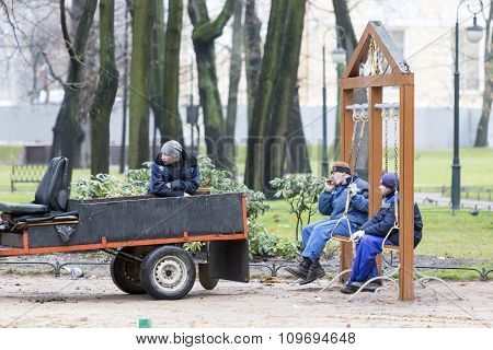 Workers Resting In The Park
