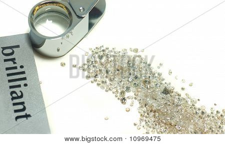 Sorting Of Gems - Diamonds And Loupe