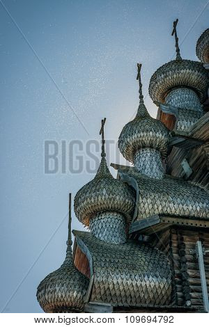 Carved Wooden Domes  In Kizhi, Karelia, Many Midges