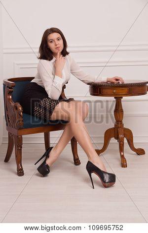 Beautiful Business Woman In The Vintage Interior