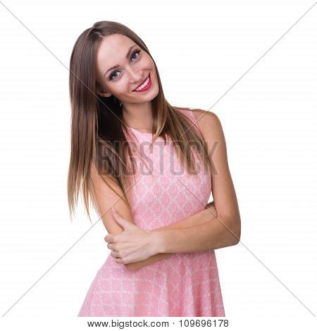 Young beautiful woman portrait. Isolated over white.