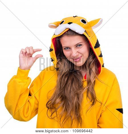 Girl dressed as a tiger with copyspace