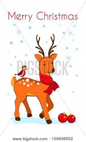 Christmas Card With Cartoon Deer.