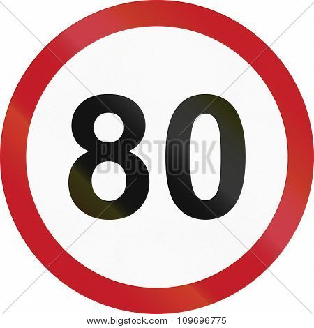 Road Sign In The Philippines - Speed Limit - Maximum 80 Kph