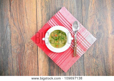Vegetable Soup in a White Plate.