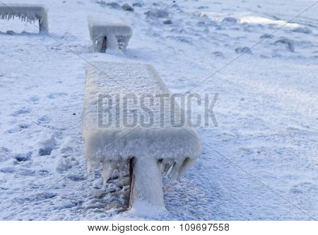 Benches In Ice
