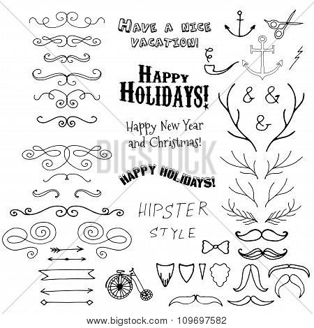 Vector Christmas set of holidays lettering and hipster hand drawn design elements in one.