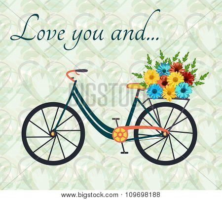 Postcard for person, who love bike and woman alike. City bicycle with flowers in basket. Romantic ba