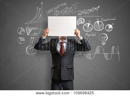 Businessman with banner