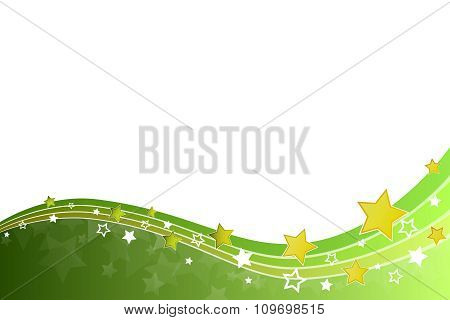 Abstract background green yellow stars and lines vector