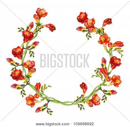 Floral circle garland wreath with vivid watercolor painted red freesia flowers