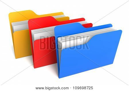 Three Color Folders And Files. 3D Rendering