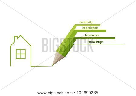 Abstract stock green pencil draw house concept  vector