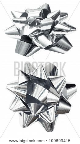 Silver bow isolated over white, clipping path
