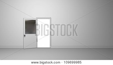 Illustration of an Open Door on a Plain Wall